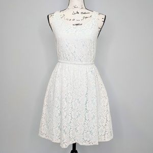 H&M White Lace Fit Flare Dress Size 4